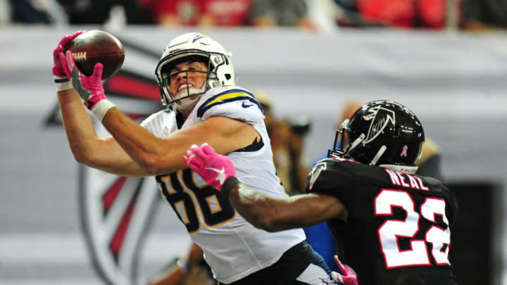 ATLANTA, GA - OCTOBER 23: Hunter Henry #86 of the San Diego Chargers makes a catch but is unable to get both feet down in the end zone against Keanu Neal #22 of the Atlanta Falcons at the Georgia Dome on October 23, 2016 in Atlanta, Georgia. (Photo by Scott Cunningham/Getty Images)
