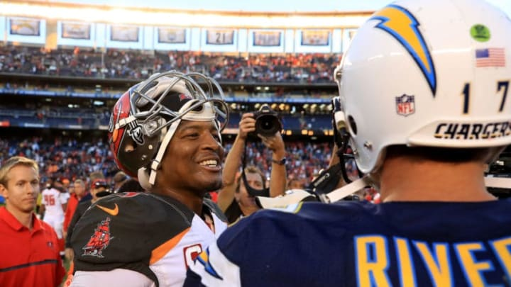 SAN DIEGO, CA - DECEMBER 04: Jameis Winston #3 of the Tampa Bay Buccaneers talks with Philip Rivers #17 of the San Diego Chargers after a game at Qualcomm Stadium on December 4, 2016 in San Diego, California. (Photo by Sean M. Haffey/Getty Images)