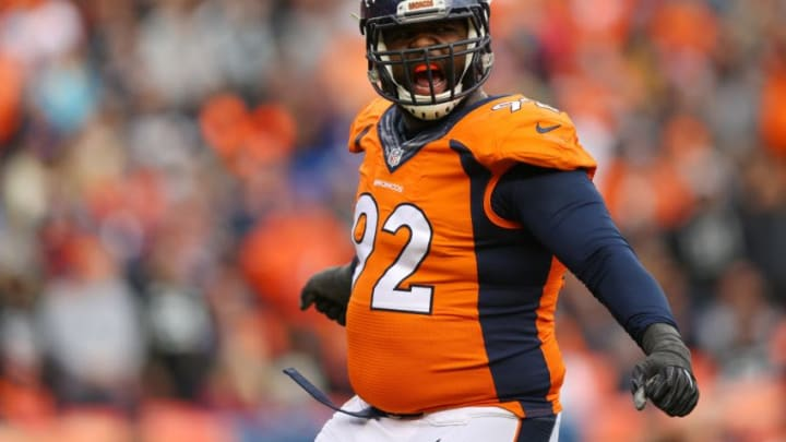 DENVER, CO - JANUARY 1: Nose tackle Sylvester Williams #92 of the Denver Broncos celebrates in the second quarter of the game against the Oakland Raiders at Sports Authority Field at Mile High on January 1, 2017 in Denver, Colorado. (Photo by Justin Edmonds/Getty Images)