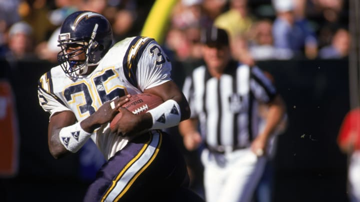SAN DIEGO – DECEMBER 2: Full back Marion Butts #35 of the San Diego Chargers hustles for yards during a game against the New York Jets at Jack Murphy Stadium on December 2, 1990, in San Diego, California. The Chargers won 38-17. (Photo by George Rose/Getty Images)