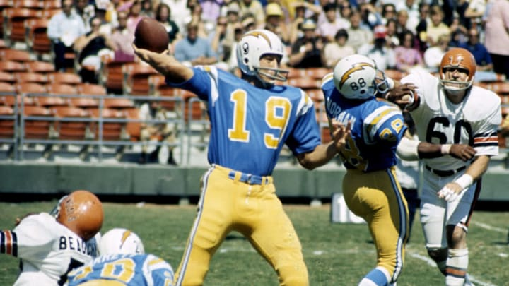 San Diego Chargers quarterback Johnny Unitas (19), inducted to the Pro Football Hall of Fame class of 1979, fires a pass during a 20-13 loss to the Cincinnati Bengals on September 30, 1973, at San Diego Stadium in San Diego, California. (Photo by Charles Aqua Viva/Getty Images)