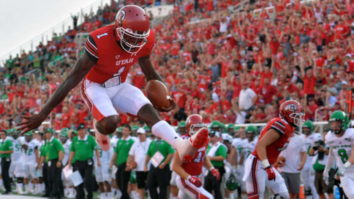 SALT LAKE CITY, UT - AUGUST 31: Quarterback Tyler Huntley #1 of the Utah Utes scores a first half touchdown against the North Dakota Fighting Hawks at Rice-Eccles Stadium on August 31, 2017 in Salt Lake City, Utah. (Photo by Gene Sweeney Jr/Getty Images)