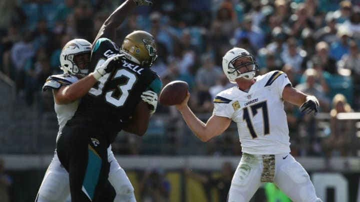 JACKSONVILLE, FL - NOVEMBER 12: Philip Rivers #17 of the Los Angeles Chargers throws a pass in the first half of their game against the Jacksonville Jaguars at EverBank Field on November 12, 2017 in Jacksonville, Florida. (Photo by Logan Bowles/Getty Images)