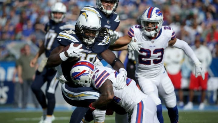 CARSON, CA - NOVEMBER 19: Micah Hyde #23 of the Buffalo Bills tackles Melvin Gordon #28 of the Los Angeles Chargers during the second quarter of the NFL game at the StubHub Center on November 19, 2017 in Carson, California. (Photo by Jeff Gross/Getty Images)
