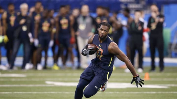 INDIANAPOLIS, IN - MARCH 04: Wide receiver Mike Williams of Clemson runs after catching a pass during day four of the NFL Combine at Lucas Oil Stadium on March 4, 2017 in Indianapolis, Indiana. (Photo by Joe Robbins/Getty Images)