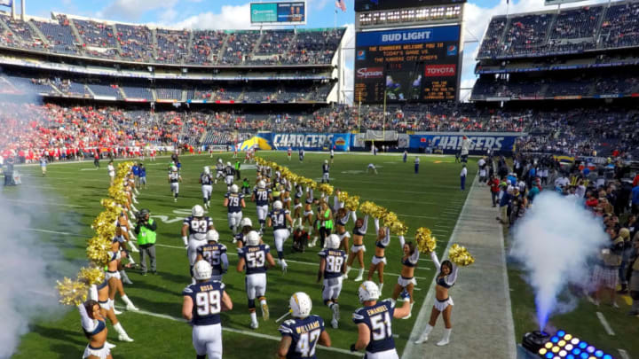 SAN DIEGO, CA - JANUARY 01: The defense of the San Diego Chargers takes the field en route to their 37-27 loss to the Kansas City Chiefs during their NFL game at Qualcomm Stadium on January 1, 2017 in San Diego, California. (Photo by Donald Miralle/Getty Images)