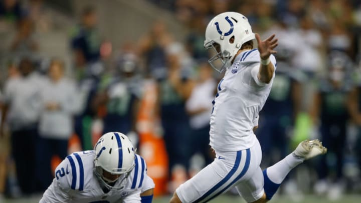 SEATTLE, WA - AUGUST 09: Kicker Mike Badgley #1 of the Indianapolis Colts kicks a field goal against the Seattle Seahawks at CenturyLink Field on August 9, 2018 in Seattle, Washington. (Photo by Otto Greule Jr/Getty Images)
