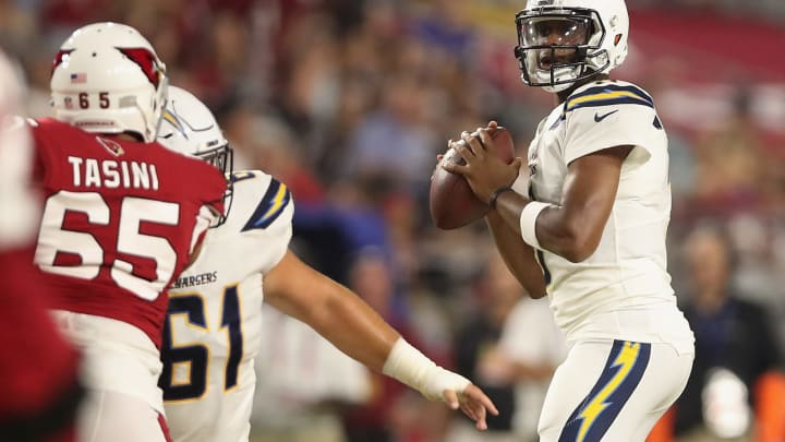 GLENDALE, AZ – AUGUST 11: Quarterback Geno Smith #3 of the Los Angeles Chargers drops back to pass during the preseason NFL game against the Arizona Cardinals at University of Phoenix Stadium on August 11, 2018 in Glendale, Arizona. (Photo by Christian Petersen/Getty Images)