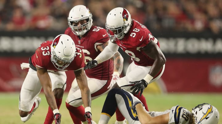 GLENDALE, AZ – AUGUST 11: Defensive back Chris Campbell #33 of the Arizona Cardinals recovers a loose ball during the preseason NFL game against the Los Angeles Chargers at University of Phoenix Stadium on August 11, 2018 in Glendale, Arizona. (Photo by Christian Petersen/Getty Images)