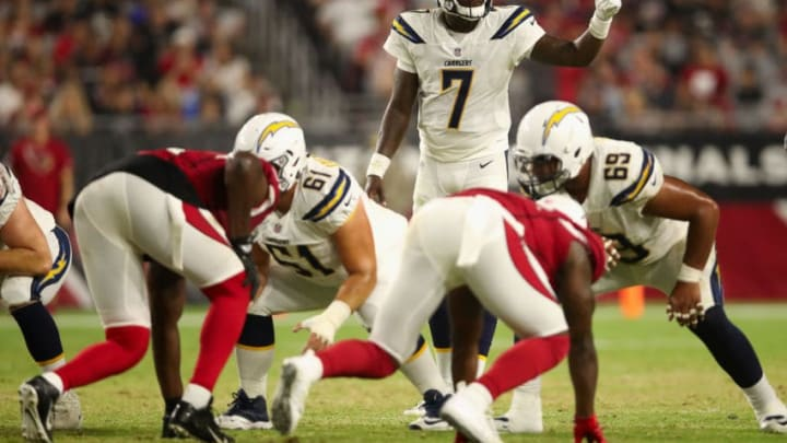 GLENDALE, AZ - AUGUST 11: Quarterback Cardale Jones #7 of the Los Angeles Chargers prepares to sanp the football during the preseason NFL game against the Arizona Cardinals at University of Phoenix Stadium on August 11, 2018 in Glendale, Arizona. (Photo by Christian Petersen/Getty Images)