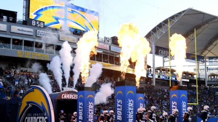 CARSON, CA - AUGUST 18: The Los Angeles Chargers take the field for their preseason game against the Seattle Seahawks at StubHub Center on August 18, 2018 in Carson, California. (Photo by Harry How/Getty Images)
