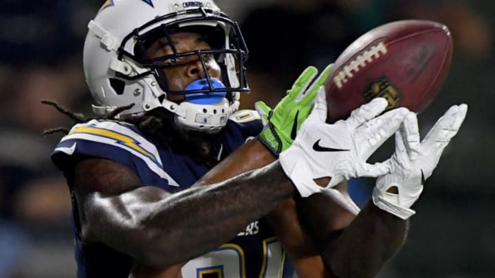 CARSON, CA - AUGUST 18: Mike Williams #81 of the Los Angeles Chargers makes a touchdown catch over Akeem King #36 of the Seattle Seahawks to take a 21-14 lead, after a conversion, during a 24-14 presseason win at StubHub Center on August 18, 2018 in Carson, California. (Photo by Harry How/Getty Images)