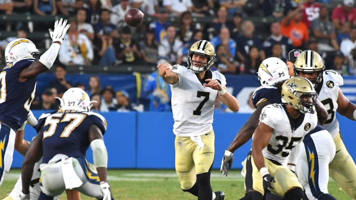 CARSON, CA – AUGUST 25: Taysom Hill #7 of the New Orleans Saints throws a complete pass in the fourth quarter of the preseason game against the Los Angeles Chargers at StubHub Center on August 25, 2018 in Carson, California. (Photo by Jayne Kamin-Oncea/Getty Images)