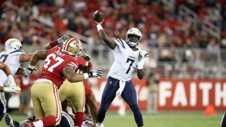 SANTA CLARA, CA - AUGUST 30: Cardale Jones #7 of the Los Angeles Chargers passes the ball against the San Francisco 49ers during their preseason game at Levi's Stadium on August 30, 2018 in Santa Clara, California. (Photo by Ezra Shaw/Getty Images)