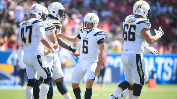 CARSON, CA - SEPTEMBER 09: Kicker Caleb Sturgis #6 of the Los Angeles Chargers celebrates a field goal to trail 14-6 in the first quarter against the Kansas City Chiefs at StubHub Center on September 9, 2018 in Carson, California. (Photo by Harry How/Getty Images)