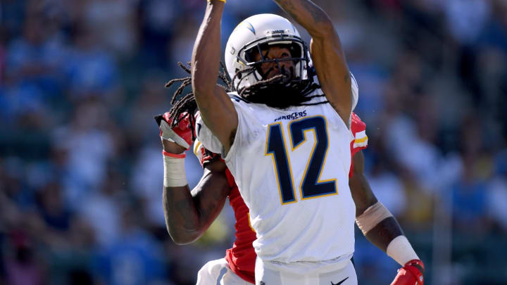 CARSON, CA – SEPTEMBER 09: Travis Benjamin #12 of the Los Angeles Chargers misses a catch in the endzone as he is trailed by Ron Parker #38 of the Kansas City Chiefs during the fourth quarter at StubHub Center on September 9, 2018 in Carson, California. (Photo by Harry How/Getty Images)