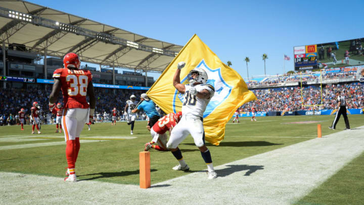CARSON, CA - SEPTEMBER 09: Running back Austin Ekeler #30 of the Los Angeles Chargers celebrates a touchdown against the Kansas City Chiefs at StubHub Center on September 9, 2018 in Carson, California. (Photo by Kevork Djansezian/Getty Images)