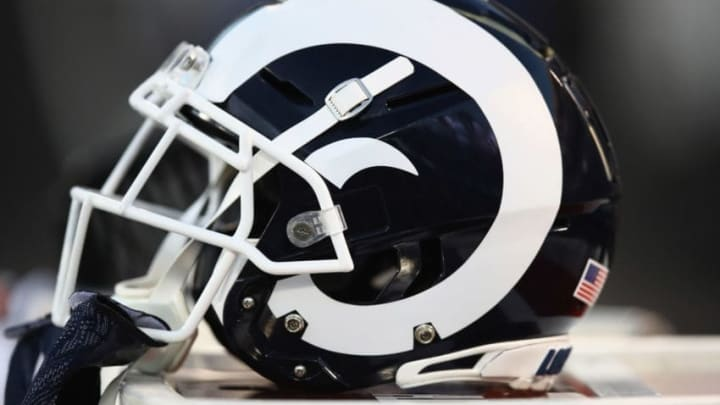 OAKLAND, CA - SEPTEMBER 10: The Los Angeles Rams helmets on the bench during their game against the Oakland Raiders at Oakland-Alameda County Coliseum on September 10, 2018 in Oakland, California. (Photo by Ezra Shaw/Getty Images)