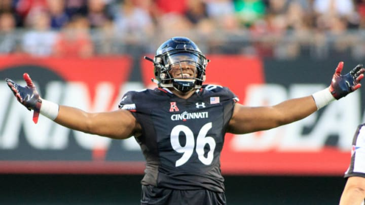 CINCINNATI, OH - SEPTEMBER 15: Cortez Broughton #96 of the Cincinnati Bearcats celebrates after the play in the game against the Alabama A&M Bulldogs at Nippert Stadium on September 15, 2018 in Cincinnati, Ohio. (Photo by Justin Casterline/Getty Images)