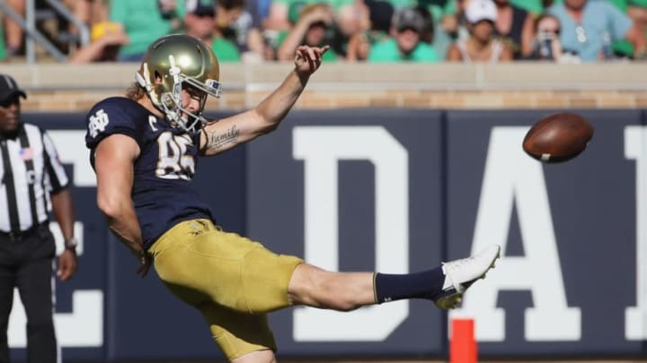 SOUTH BEND, IN - SEPTEMBER 15: Tyler Newsome #85 of the Notre Dame Fighting Irish punts against the Vanderbilt Commodores at Notre Dame Stadium on September 15, 2018 in South Bend, Indiana. (Photo by Jonathan Daniel/Getty Images)