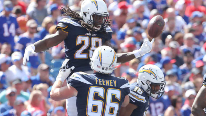BUFFALO, NY - SEPTEMBER 16: Melvin Gordon III #28 of the Los Angeles Chargers celebrates after scoring a touchdown during NFL game action against the Buffalo Bills at New Era Field on September 16, 2018 in Buffalo, New York. (Photo by Tom Szczerbowski/Getty Images)