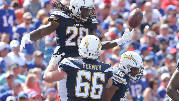 BUFFALO, NY – SEPTEMBER 16: Melvin Gordon III #28 of the Los Angeles Chargers celebrates after scoring a touchdown during NFL game action against the Buffalo Bills at New Era Field on September 16, 2018 in Buffalo, New York. (Photo by Tom Szczerbowski/Getty Images)