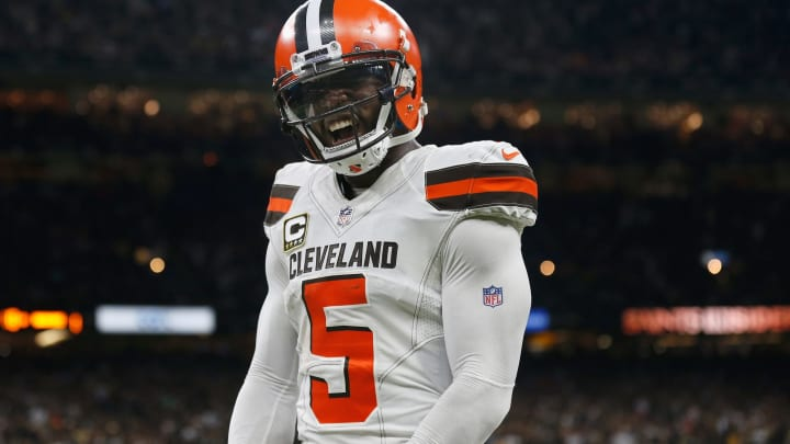 NEW ORLEANS, LA – SEPTEMBER 16: Tyrod Taylor #5 of the Cleveland Browns celebrates after a touchdown during the fourth quarter against the New Orleans Saints at Mercedes-Benz Superdome on September 16, 2018 in New Orleans, Louisiana. (Photo by Jonathan Bachman/Getty Images)