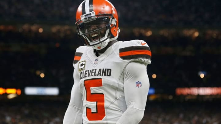 NEW ORLEANS, LA - SEPTEMBER 16: Tyrod Taylor #5 of the Cleveland Browns celebrates after a touchdown during the fourth quarter against the New Orleans Saints at Mercedes-Benz Superdome on September 16, 2018 in New Orleans, Louisiana. (Photo by Jonathan Bachman/Getty Images)