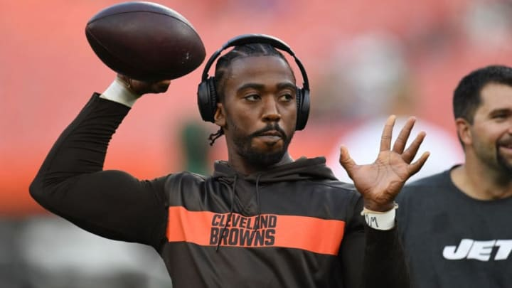 CLEVELAND, OH - SEPTEMBER 20: Tyrod Taylor #5 of the Cleveland Browns warms up prior to the game against the New York Jets at FirstEnergy Stadium on September 20, 2018 in Cleveland, Ohio. (Photo by Jason Miller/Getty Images)