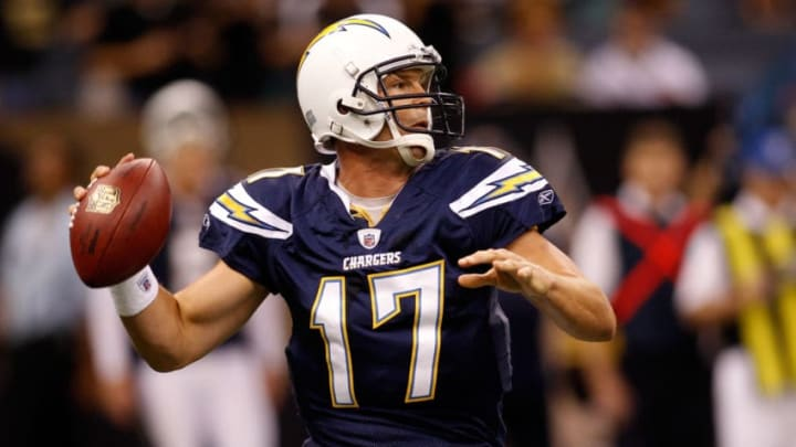 NEW ORLEANS - AUGUST 27: Philip Rivers #17 of the San Diego Chargers looks to throw a pass against the New Orleans Saints at the Louisiana Superdome on August 27, 2010 in New Orleans, Louisiana. The Saints defeated the Chargers 36-21. (Photo by Chris Graythen/Getty Images)