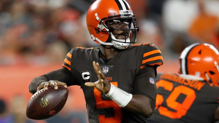 CLEVELAND, OH – SEPTEMBER 20: Tyrod Taylor #5 of the Cleveland Browns drops back to pass during the second quarter against the New York Jets at FirstEnergy Stadium on September 20, 2018 in Cleveland, Ohio. (Photo by Joe Robbins/Getty Images)