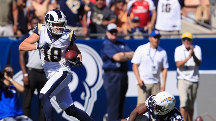 LOS ANGELES, CA – SEPTEMBER 23: Cooper Kupp #18 of the Los Angeles Rams breaks free from Trevor Williams #24 of the Los Angeles Chargers for a touchdown during the third quarter of the game at Los Angeles Memorial Coliseum on September 23, 2018 in Los Angeles, California. (Photo by Sean M. Haffey/Getty Images)