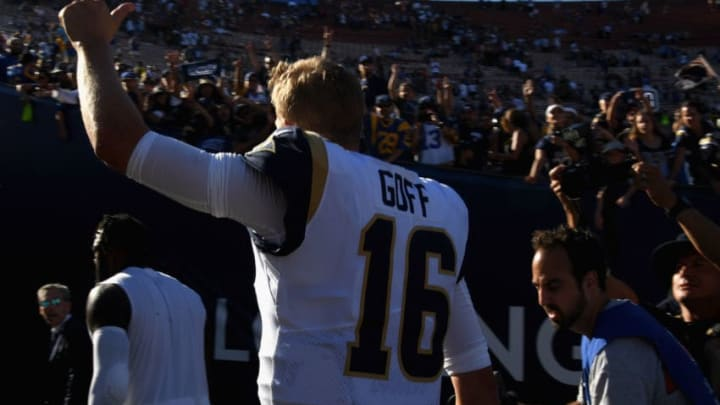LOS ANGELES, CA - SEPTEMBER 23: Quarterback Jared Goff #16 of the Los Angeles Rams acknowledges the crowd after the Rams defeated the Los Angeles Chargers 35-23 at Los Angeles Memorial Coliseum on September 23, 2018 in Los Angeles, California. (Photo by Harry How/Getty Images)