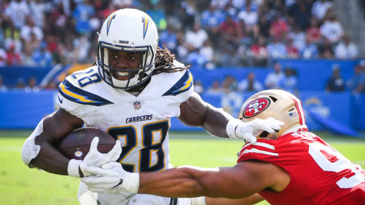 CARSON, CA - SEPTEMBER 30: Running back Melvin Gordon #28 of the Los Angeles Chargers runs the ball by defensive end Solomon Thomas #94 of the San Francisco 49ers at StubHub Center on September 30, 2018 in Carson, California. (Photo by Jayne Kamin-Oncea/Getty Images)