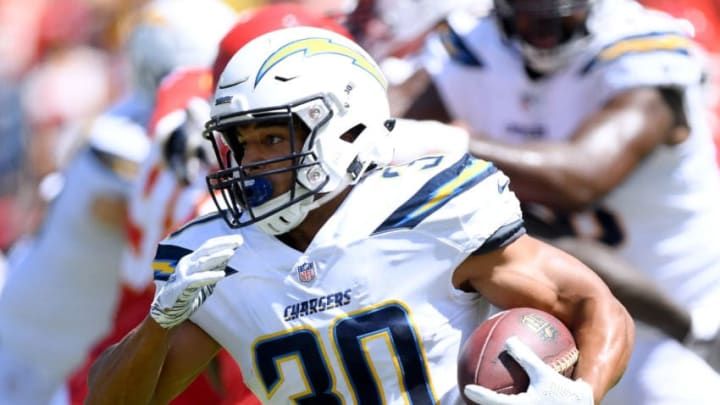 CARSON, CA - SEPTEMBER 09: Austin Ekeler #30 of the Los Angeles Chargers carries the ball off a handoff during the game against the Kansas City Chiefs at StubHub Center on September 9, 2018 in Carson, California. (Photo by Harry How/Getty Images)