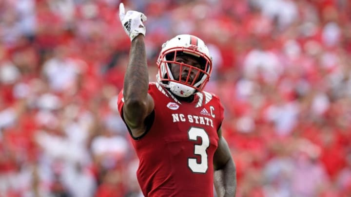 RALEIGH, NC - OCTOBER 06: Germaine Pratt #3 of the North Carolina State Wolfpack reacts after recoving a fumble by the Boston College Eagles during their game at Carter-Finley Stadium on October 6, 2018 in Raleigh, North Carolina. North Carolina State won 28-23. (Photo by Grant Halverson/Getty Images)