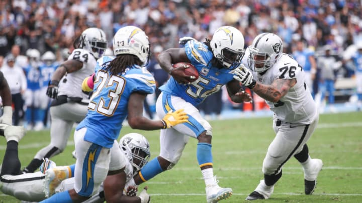 CARSON, CA - OCTOBER 07: Defensive end Melvin Ingram #54 of the Los Angeles Chargers runs after an interception in the third quarter against the Oakland Raiders at StubHub Center on October 7, 2018 in Carson, California. (Photo by Sean M. Haffey/Getty Images)