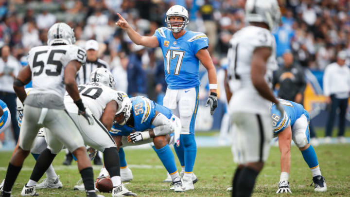 CARSON, CA - OCTOBER 07: Quarterback Philip Rivers #17 of the Los Angeles Chargers gestures during the game against the Oakland Raiders at StubHub Center on October 7, 2018 in Carson, California. (Photo by Sean M. Haffey/Getty Images)