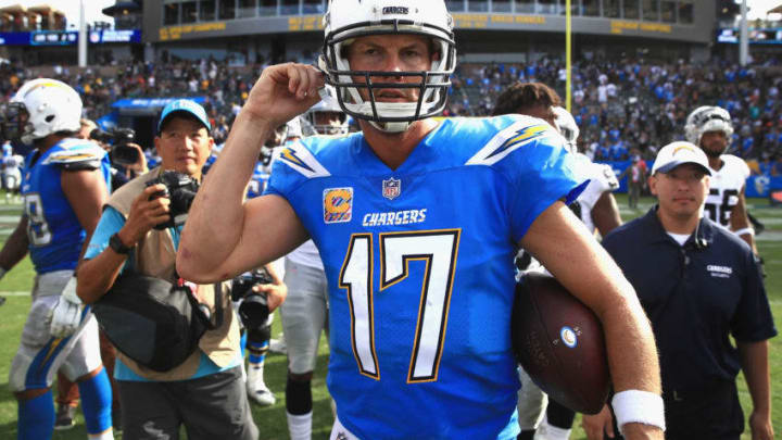 CARSON, CA - OCTOBER 07: Philip Rivers #17 of the Los Angeles Chargers walks off the field after defeating the Oakland Raiders 26-10 in a game at StubHub Center on October 7, 2018 in Carson, California. (Photo by Sean M. Haffey/Getty Images)