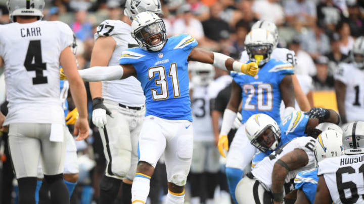 CARSON, CA - OCTOBER 07: Defensive back Adrian Phillips #31 of the Los Angeles Chargers reacts during the game against the Oakland Raiders at StubHub Center on October 7, 2018 in Carson, California. (Photo by Harry How/Getty Images)