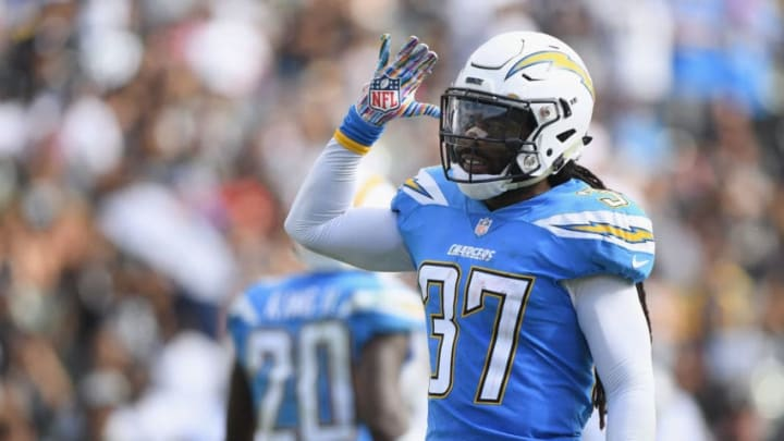 CARSON, CA - OCTOBER 07: Jahleel Addae #37 of the Los Angeles Chargers plays to the crowd during the game against the Oakland Raiders at StubHub Center on October 7, 2018 in Carson, California. (Photo by Harry How/Getty Images)