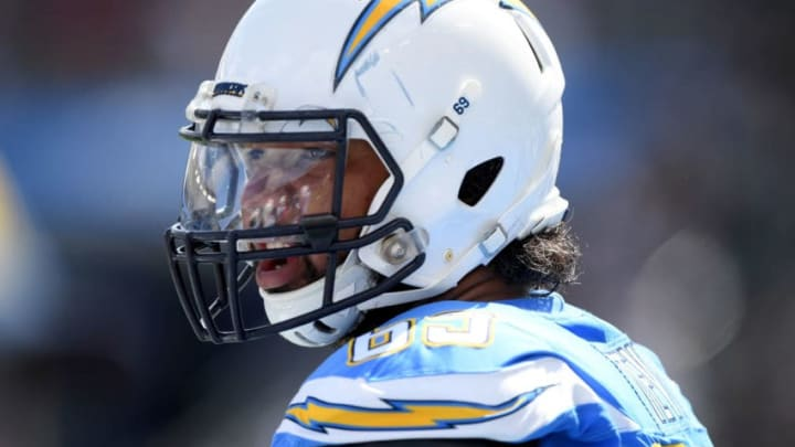CARSON, CA - OCTOBER 07: Sam Tevi #69 of the Los Angeles Chargers before the game against the Oakland Raiders at StubHub Center on October 7, 2018 in Carson, California. (Photo by Harry How/Getty Images)