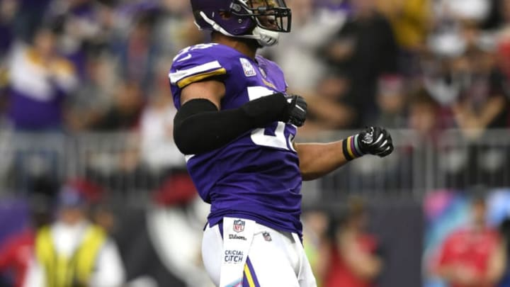 MINNEAPOLIS, MN - OCTOBER 14: Anthony Barr #55 of the Minnesota Vikings celebrates after tackling David Johnson #31 of the Arizona Cardinals in the third quarter of the game at U.S. Bank Stadium on October 14, 2018 in Minneapolis, Minnesota. (Photo by Hannah Foslien/Getty Images)