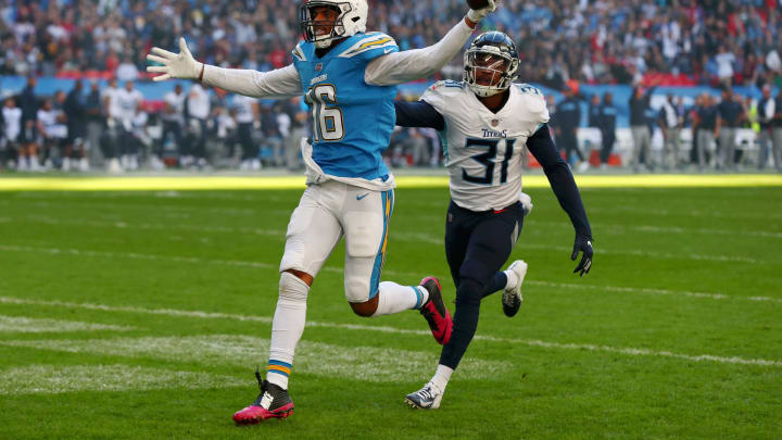 LONDON, ENGLAND – OCTOBER 21: Tyrell Williams of Los Angeles Chargers scores his sides first touchdown during the NFL International Series match between Tennessee Titans and Los Angeles Chargers at Wembley Stadium on October 21, 2018 in London, England. (Photo by Clive Rose/Getty Images)