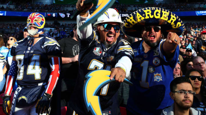 LONDON, ENGLAND - OCTOBER 21: Chargers fans during the NFL International Series match between Tennessee Titans and Los Angeles Chargers at Wembley Stadium on October 21, 2018 in London, England. (Photo by Clive Rose/Getty Images)