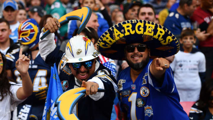 LONDON, ENGLAND - OCTOBER 21: Los Angeles Chargers fans during the Tennessee Titans against the Los Angeles Chargers at Wembley Stadium on October 21, 2018 in London, England. (Photo by Justin Setterfield/Getty Images)