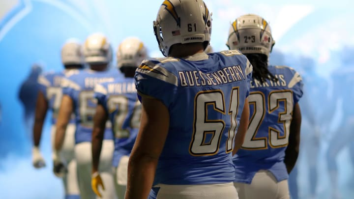 LONDON, ENGLAND – OCTOBER 21: Scott Quessenberry of Los Angeles Chargers walks out the tunnel with teammates ahead of the NFL International Series match between Tennessee Titans and Los Angeles Chargers at Wembley Stadium on October 21, 2018 in London, England. (Photo by Naomi Baker/Getty Images)