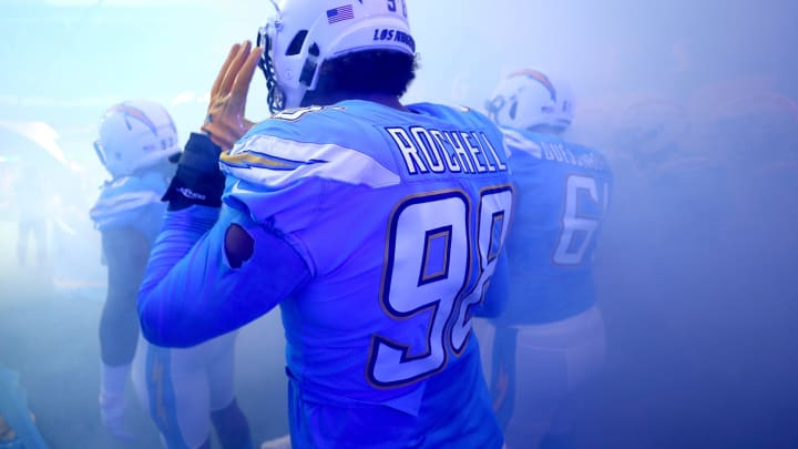 LONDON, ENGLAND – OCTOBER 21: Isaac Rochell of Los Angeles Chargers is seen in the tunnel during the NFL International Series match between Tennessee Titans and Los Angeles Chargers at Wembley Stadium on October 21, 2018 in London, England. (Photo by Clive Rose/Getty Images)
