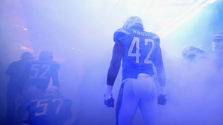 LONDON, ENGLAND - OCTOBER 21: Uchenna Nwosu of Los Angeles Chargers is seen in the tunnel during the NFL International Series match between Tennessee Titans and Los Angeles Chargers at Wembley Stadium on October 21, 2018 in London, England. (Photo by Clive Rose/Getty Images)