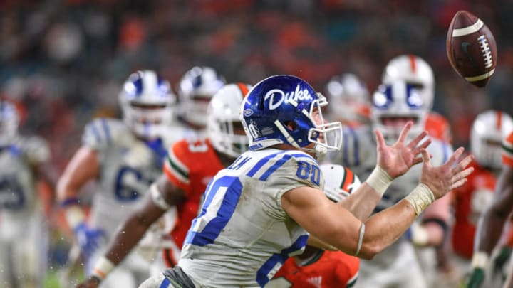 MIAMI, FL - NOVEMBER 03: Daniel Helm #80 of the Duke Blue Devils catches the ball of a deflection in the second half against the Miami Hurricanes at Hard Rock Stadium on November 3, 2018 in Miami, Florida. (Photo by Mark Brown/Getty Images)